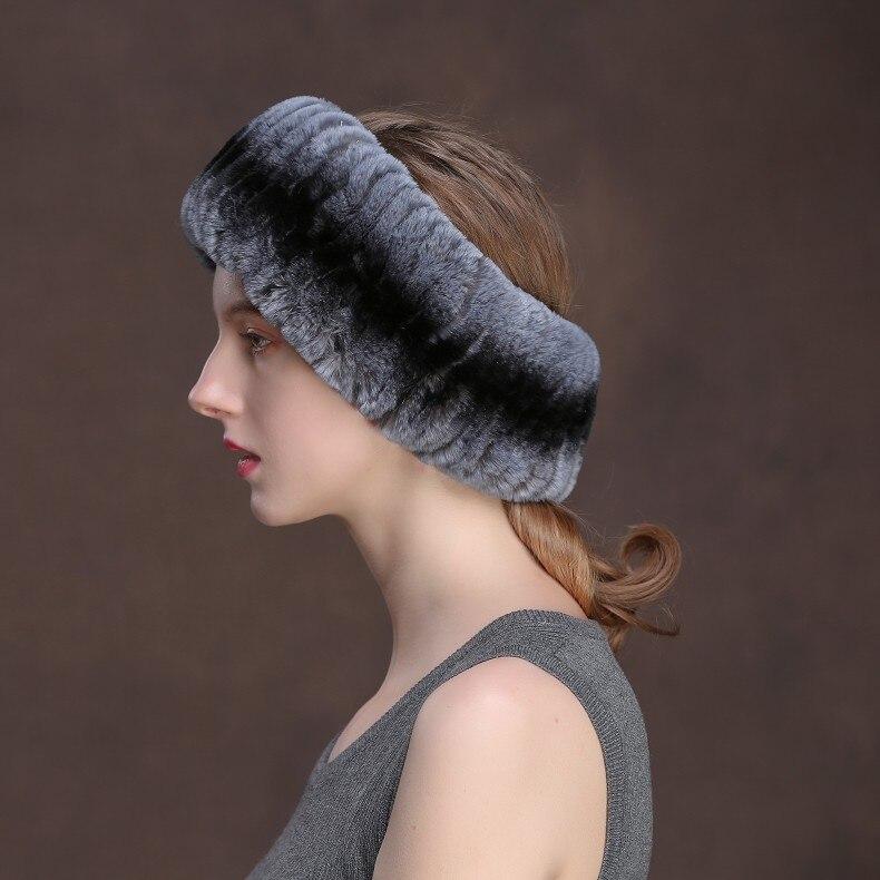 Winter Fur Headbands For Women Knitted Rex Rabbit Fur Scarf Hats Natural Fur Ring hairband Neckwarmer female (23)