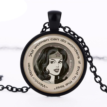 Hot sale Wonder Woman Necklace,all women can do wonders if put of the test Wonder Woman Jewelry Glass Photo Pendant Necklace HZ1(China)