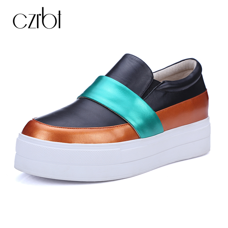CZRBT Mixed Colors Women Platform Shoes Woman Fashion Casual Flat Shoes Genuine Leather Round Toe Loafers Black White Size 34-40<br>