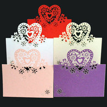 10pcs Hot Sale Love Heart Laser Cut Wedding Invitations Party Table Name Place Cards Favor Decor papel de carta MI7(China)