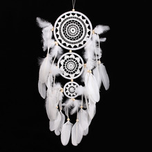 "Native American Decoration White Dream Catcher Beaded with 3 Circles Long 32.28"" Hanging Decoration Ornament mascot gift"