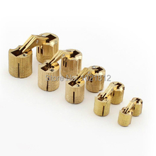 1Pair 10-16mm Brass Barrel Hinge Cylindrical Hidden Cabinet Hinges Concealed Invisible Mortise Mount Hinge