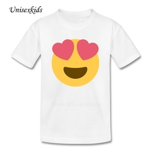 2017 Baby Emoji T Shirt Girl Boy Funny Short Sleeve 100% Cotton t-shirt Kids Clothing Top Print Tees For Children Discount Price