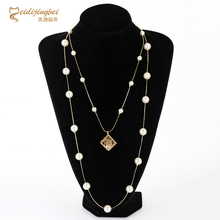 2017 Fashion Exquisite Pearl Beads Necklaces Multilayer Summer Style Bohemia Body Double Chain Cube Necklaces Women Fine Jewelry(China)