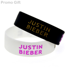 "Promo Gift 25PCS/Lot 3/4"" Wide Band Ink Filled Logo Justin Bieber Believe Silicone Wristband(China)"
