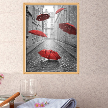 DIY 5D Diamond Embroidery Painting Cross Stitch Mosaic Red Umbrella Home Decor 40cm*30cm