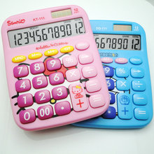 Drop Shipping Cute Hello Kitty 12 Digit Solar Powered Desktop Calculator, LCD Display, Pink Blue(China)