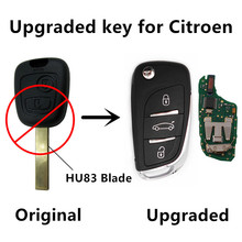 Upgraded Car Keyless Remote Key For Citroen C3 433MHz with ID46 PCF7961 Chip HU83 Blade