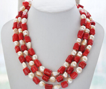 Women Gift word Love real huij 004808 17mm cylindrical red coral 15mm baroque pink fw pearl necklace african beads silver indian(China)