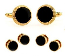 Black Paint And Gold Setting Round Mb Cufflinks Tuxedo Stud Sets Wedding Gift Cufflink Free Shipping(China)