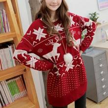 Fashion Women Winter Spring Sweater Christmas Red Deer Snowflake Printed Long Sleeve Casual Crochet Pullover