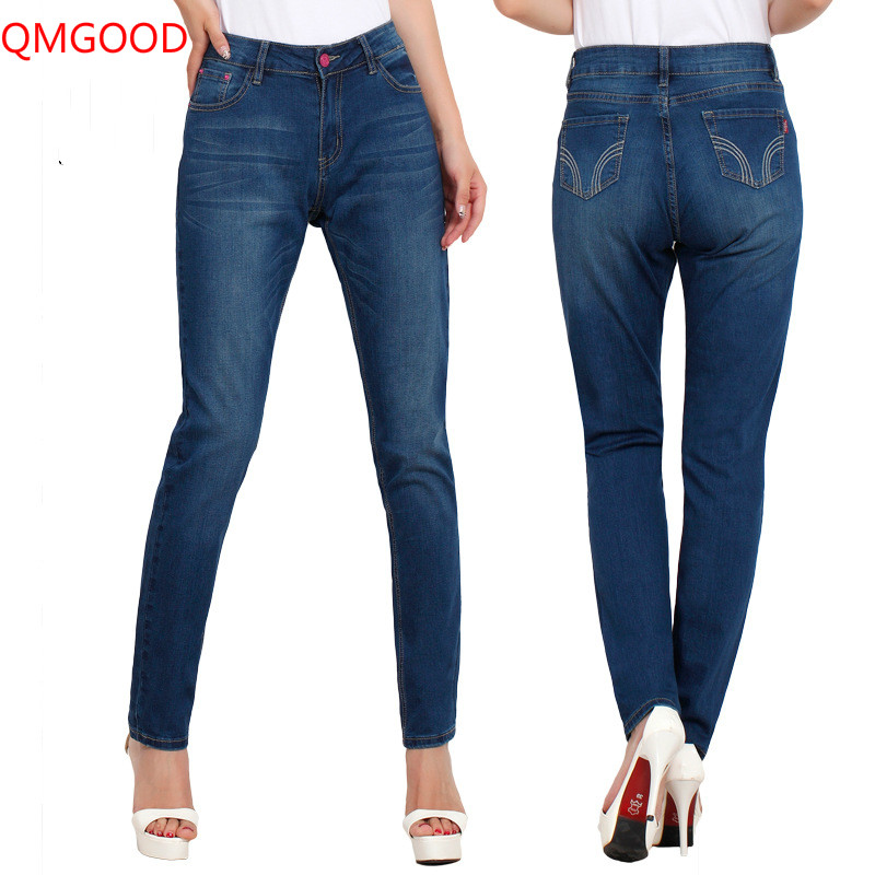 QMGOOD Size 28-40 Womens Big Size Jeans Trousers 2017 New Classic Pencil Jeans Female Autumn Trousers Jeans Blue Denim PantsÎäåæäà è àêñåññóàðû<br><br>
