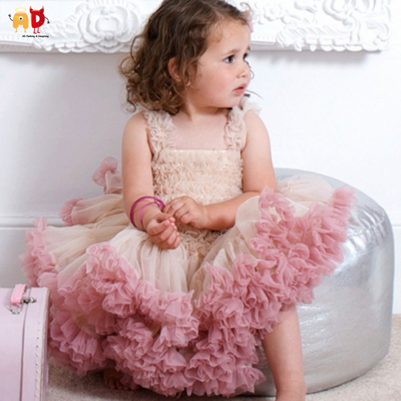 AD Girls Tiered Party Dress Lolita Style Performance Wedding Birthday Tutu Skirt Kids Pageant Clothing Childrens Dance Clothes<br>
