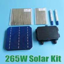 hot sale 265W DIY Solar Panel Kit 6x6 156 Monocrystalline Mono solar cell tab wire Bus wire Flux pen Junction Box WY