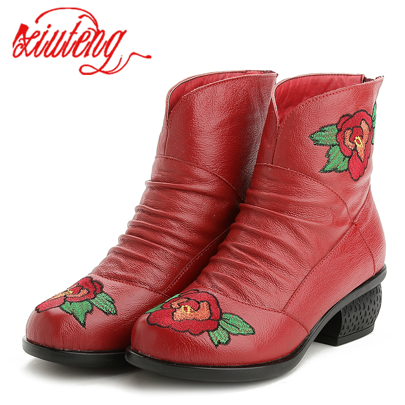 Xiuteng Genuine Leather Women Shoes Embroidered Square Low Heel Ankle Boots Women Winter Boots Large Size Short Plush inside<br>