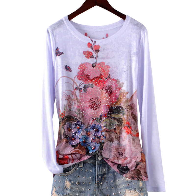 Double floral print slim t shirt women long sleeve fashion hot drilling tops 2019 new arrivals