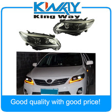 Headlights DRL Halo LED Projector Head lights For 2011-2013 Toyota Corolla
