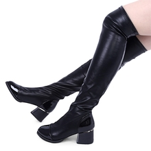 Women Stretch PU Leather Over the Knee Boots Shoes Ladies Round Toe Med Heels Designer boots
