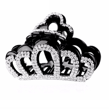 Crown Hair Accessories Full Crystals Hair Claws Large Hairgrips Charm Fascinator Hair Clips Clamp for Women Black/Brown HC632