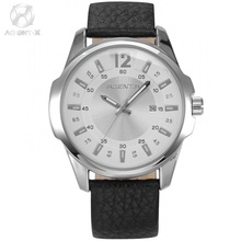 AGENTX Brand Miyota Movemant Silver Stainless Steel Case Male Clock Genuine Leather Band Men Watch Elegant Wristwatch / AGX031(China)