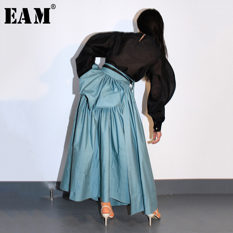 [EAM] 2019 New Spring Summer High Waist Green Pleated Split Joint Bandage Big HemlineHalf-body Skirt Women Fashion Tide JR259