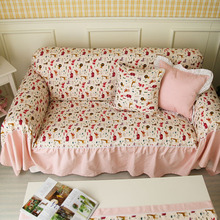 Cartoon Sofa Cover Cotton Gremial Sofa Cover Customize Accept slip-resistant pink  Sofa Cover