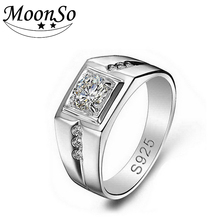 Moonso CZ Diamond 925 Sterling Silver Rings for Men Wedding Engagement Jewelry Ring Men Ring fashion finger male jewelry R207