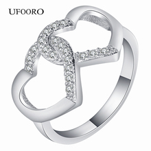 2017 New Collection Authentic Heart To Heart Stackable Ring CZ For love Jewelry wholesale double love design gift