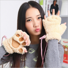 cute fashion sexy cat paw glove womens office typing half finger warm gloves & winter mittens for female women Plush gloves 2015(China)