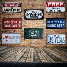 [ Mike86 ] Free WIFI License Plates Vintage Pub Party decoration Metal Tin signs Wall Painting Plaque D-257B Mix order 30*15 CM