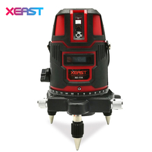 XEAST XE-11A 5 line 6 point Red laser level meter rotated 360 degrees laser line level tilt mode Self Leveling with outdoor mode(China)