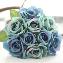 1 Bunch Silk Artificial Flower Royal blue Rose For Wedding Garden Public places Home Celebrations Party Festival Decor