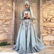 Turkish Traditional Formal Dress With Hijab 2017 Lace Long Sleeve Evening Dress Muslim Party Dresses Middle East Women Gowns