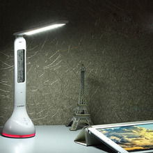 Foldable Dimmable RGB Colorful LED Table Desk Reading Lamp Clock Atmosphere Light with Date Time Temperature for Office