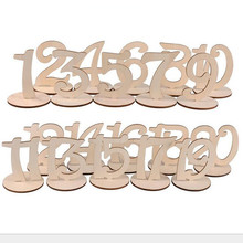 20pcs Wooden 1-20 Wedding Table Wooden Number With Holder Base Holder Party Number Tag Stand Table Decoration Wedding used(China)