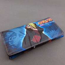 Colorful long style PU wallet printed w/ NARUTO akatsuki organization Deidara