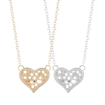 QIMING Sweet Accossies Tiny Hollow Heart Necklace & Pendants Heart Necklaces for Women and Girls Boho Collar