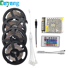 3528 15m 5m 10m 20m Waterproof LED Strips 60LEDs/m 5m/roll RGB lumiere led lighting+24keys RGB Remote Controller+DC 12V Adapter