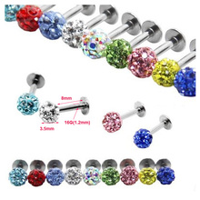 1Pc Mix Color Shamballa Ball Full CZ Gem Lip Ring Tragus Earring Labret Piercing 16G Disco 3.5mmTragus Earring Body Jewelry