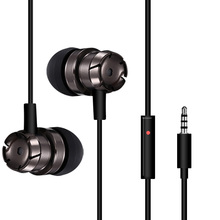 KHP 3.5mm Metal Super Bass Volume Control In-Ear Earphone For iPhone Samsung LG All Mobile Phone MP3 MP4 Earphones