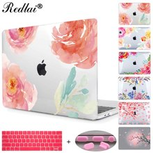 Floral Crystal Clear Print Hard Case For Macbook Pro 13 15 2016 Touch bar Laptop bag Air Pro Retina 12 13 15 with Keyboard Cover(China)