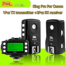 Pixel King Pro 1drag2( 1TX+2RX) 2.4G Wireless TTL 1/8000S Flash Trigger For Canon 7D 5D2 5D3 5D4 60D 650D 580EX 600 DSLR cameras(China)