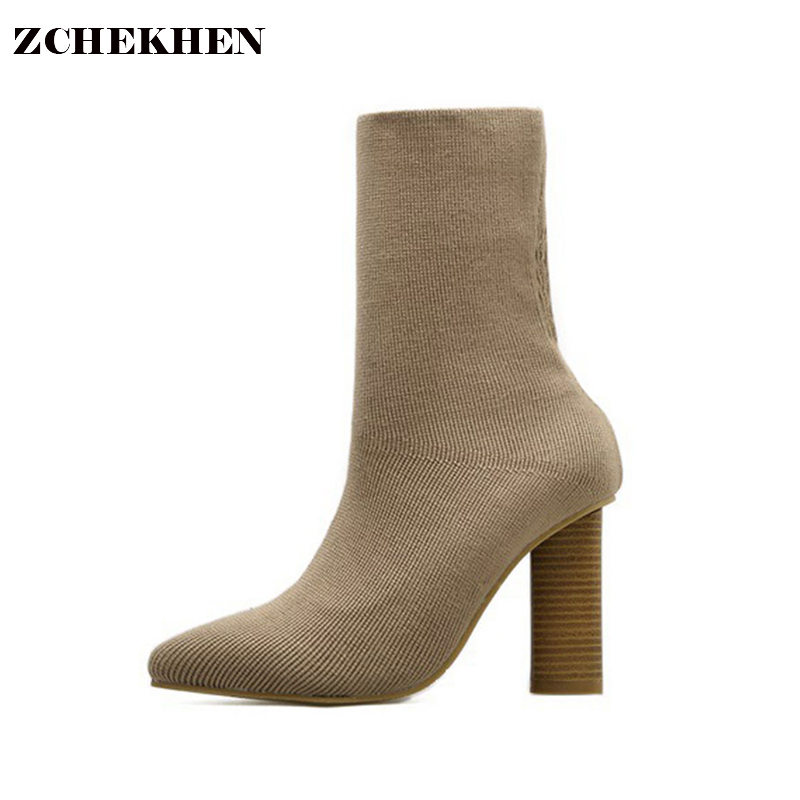 2018 Fashion ankle Elastic Sock Boots Chunky High Heels Stretch Women Autumn Sexy Booties Pointed Toe Women Pump <br>