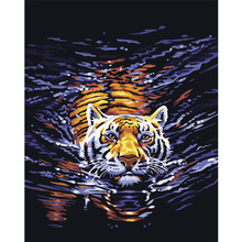 Qluo Modern Canvas Art Animal Tiger Swimming Picture Digital Oil Painting By Numbers No Framed Diy Gift Wall Bedroom Decoration(China)
