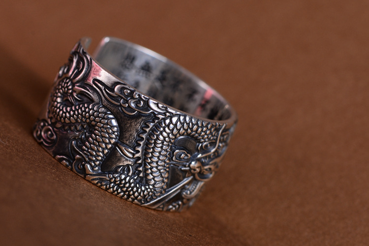 Cool Buddhist Real 999 Pure Silver Biker Rings With Flying Dragon