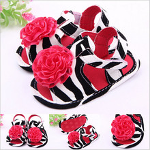 2015 Summer Lovely Baby Girls Flower Shoes Zebra Print Toddler Infants First Walkers(China)