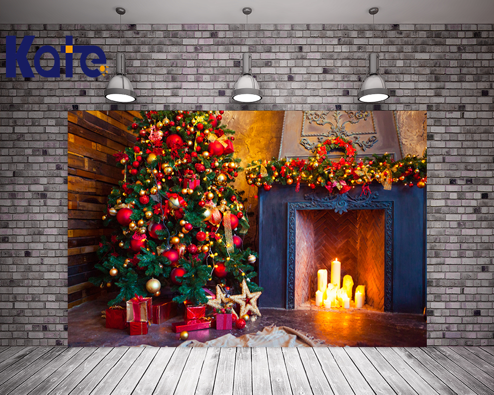 Kate No Wrinkles Christmas Backdrop Photography Colorful Christmas Tree Fireplace For Family Photo Studio Background<br>