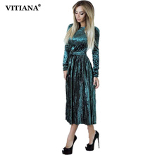 VITIANA Women Maxi Long Casual Velvet Dress Female Autumn Green Blue Long Sleeve A-line Vintage Elegant Pleated Party Dresses(China)