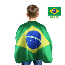 Special 70*70 cm child world cup cosplay Brazil flag decorations cloak costume Olympic soccer team fan present flag cape(China)