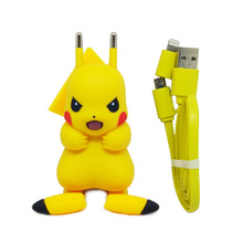 For iPhone Charger, Pocket Monster Pokemon Go Cute Pikachu Design Universal for iPhone 6 Mobile Charger USB Adapter Charger